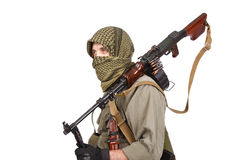 Shooter with machine gun. Isolated stock photography