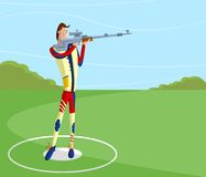 Shooter making aim. Cartoon style shooter making aim with gun in vector Royalty Free Stock Photo