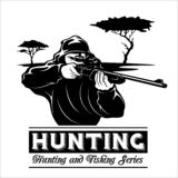Shooter - man aims with a rifle. Hunting illustration in the engraving style