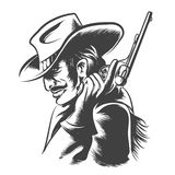 Shooter. Man in cowboy clothes with revolver in his hand. Engraving Style. Monochrome on white background Royalty Free Stock Photos