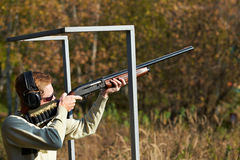 Shooter at the position stock image