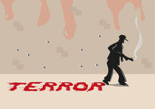 A Shooter with Terror Typography made of Blood Smears. Editable Clip Art. Royalty Free Stock Photography