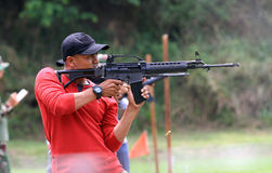 Shooters. Are following the shooting competition among military members in Sukoharjo, Central Java, Indonesia Royalty Free Stock Images