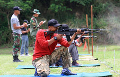 Shooters. Are following the shooting competition among military members in Sukoharjo, Central Java, Indonesia Stock Photography