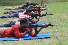 Shooters. Are following the shooting competition among military members in Sukoharjo, Central Java, Indonesia Stock Photo