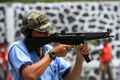 Shooters. Are following the shooting competition among military members in Sukoharjo, Central Java, Indonesia Royalty Free Stock Photos