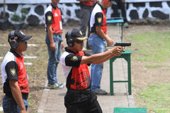 Shooters. Are following the shooting competition among military members in Sukoharjo, Central Java, Indonesia Stock Images