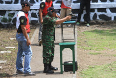 Shooters. Are following the shooting competition among military members in Sukoharjo, Central Java, Indonesia Royalty Free Stock Photo