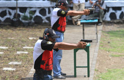 Shooters. Are following the shooting competition among military members in Sukoharjo, Central Java, Indonesia Royalty Free Stock Image