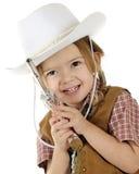 Shootin Cowgirl-Nahaufnahme Stockbild