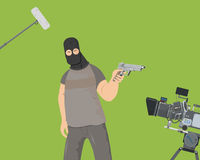 Shooting the action movie. The actor plays the role of an armed villain in the film. Special camera shooting on a green background Vector illustration Stock Images