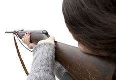Shooting with air gun Royalty Free Stock Images