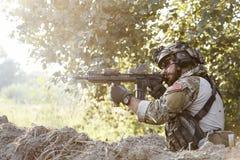 Shooting americano del soldado Fotos de archivo libres de regalías