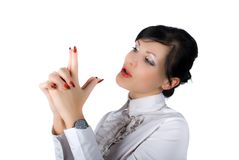 Shooting attractive businesswoman isolated Stock Image