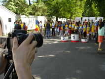 Shooting at at award ceremony Royalty Free Stock Images