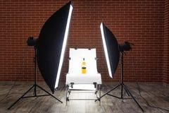 Shooting Bottle at Studio. Taking photo of whisky bottle at studio Stock Images