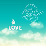 Shooting from bow Cupid and the word Love on the sunny sky background Royalty Free Stock Image