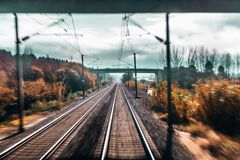 View from train cabin stock photography