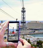 Shooting cable car in Barcelona Royalty Free Stock Photo