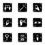 Shooting on cell phone icons set, grunge style. Shooting on cell phone icons set. Grunge illustration of 9 shooting on cell phone vector icons for web Stock Photography
