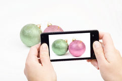 Shooting Christmas decorations Royalty Free Stock Photography