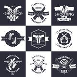 Shooting Club, Guns and Ammo vintage emblems. Signs with crossed revolvers, guns, pistols, logo with handguns, vector illustration Stock Photo