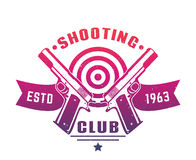 Shooting club logo, emblem, badge with two pistols Stock Photos