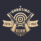 Shooting club logo, emblem with two pistols Stock Image