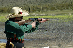 Shooting competition 3. Rifle shooting competition at a cowboy action shoot Stock Image