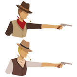 Shooting Cowboy. Image of a shooting cowboy. No use of gradients or transparency Stock Image