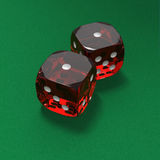 Shooting craps or dice on green felt background. Craps dice roll called aces on green felt background Stock Image