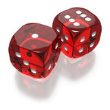 Shooting craps or dice on white background Stock Images
