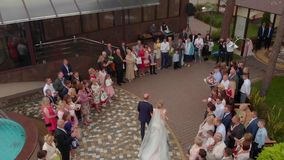 The bride goes to her husband stock video