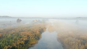 Shooting from the drone, flying over the misty river in the early morning stock footage