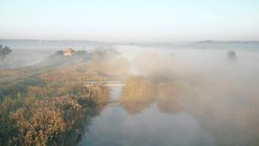 Shooting from the drone, flying over the misty river in the early morning stock video footage