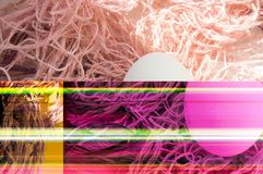 Shooting Easter, one egg on a pink background - damaged file. Abstract texture background noise Glitch camera VHS pixel error. For use in the modern royalty free stock image