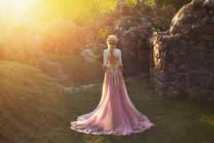 Shooting without a face, from the back. Wonderful princess with blond hair and a crown. is wearing an amazing light pink. Dress with gold ornaments and a long stock photo