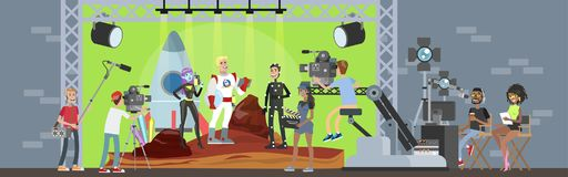 Shooting Fantastic Movie With Captain Of Spaceship Royalty Free Stock Images