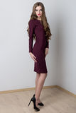 Shooting fashion dresses with beautiful girl with long to catalog royalty free stock photos