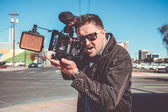 Shooting a film in the city Royalty Free Stock Photos