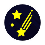 Shooting flat stars icon with long shadow Stock Images