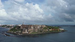 The shooting of Fort San Juan from the cruise liner passing closer stock video footage