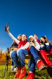 Shooting friends with cell phone Royalty Free Stock Photography