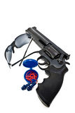 Shooting gear. Custom revolver with protective glasses and hearing protection Stock Images