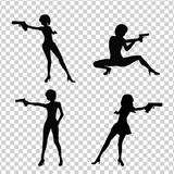 Shooting Girl Image. Secret service female agent in black colour shooting with revolver. Sexy woman on duty. Beautiful vector illustration in cartoonish flat Stock Photo