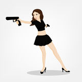 Shooting Girl Image. Secret service female agent in black skirt shooting with revolver. Sexy woman on duty. Beautiful vector illustration in cartoonish comics Royalty Free Stock Photography