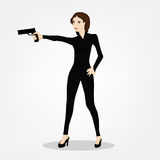 Shooting Girl Image. Secret service female agent in black suit shooting with revolver. Sexy woman on duty. Beautiful vector illustration in cartoonish comics Royalty Free Stock Photography