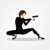Shooting Girl Image. Secret service female agent in black suit shooting with revolver. Sexy woman on duty. Beautiful vector illustration in cartoonish comics Royalty Free Stock Photos