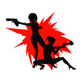 Shooting Girl Image. Two secret service female agents in black colour shooting with revolver. Sexy women on duty. Beautiful vector illustration in cartoonish Stock Photography