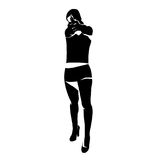 Shooting girl silhouette. Secret service female agent in black colour shooting with revolver. Sexy woman on duty. Vector illustration isolated on a white Stock Images
